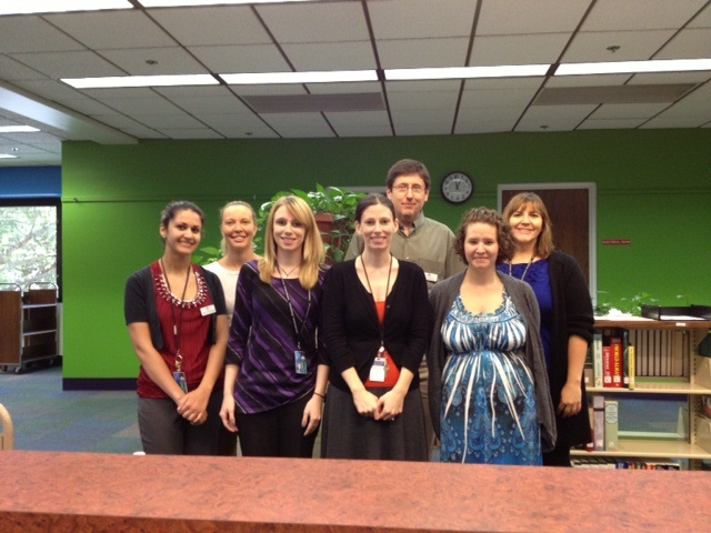 Central Branch: Front row: Aneseh Haeiahwazi; Sara White; Roberta Hendry; Caroline Quintanilla Back row: Therese Nearhoof; David Witter; Stacy Reyer