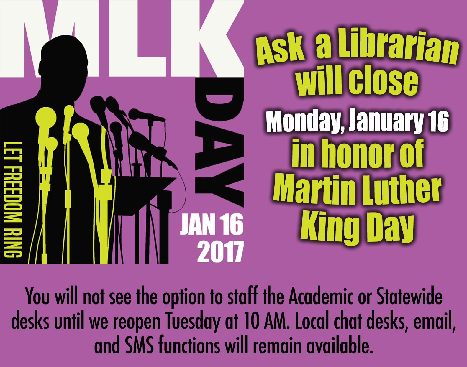 for mlk day if your library monitors through a shared account remember to keep these desks closed all other users shouldnt see an option to staff
